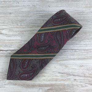 Vintage Gucci Maroon Gray Skinny Silk Tie Italy